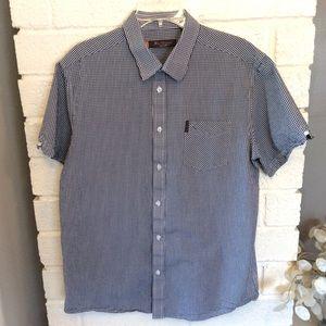Ben Sherman Short Sleeve Button Blue Gingham Shirt